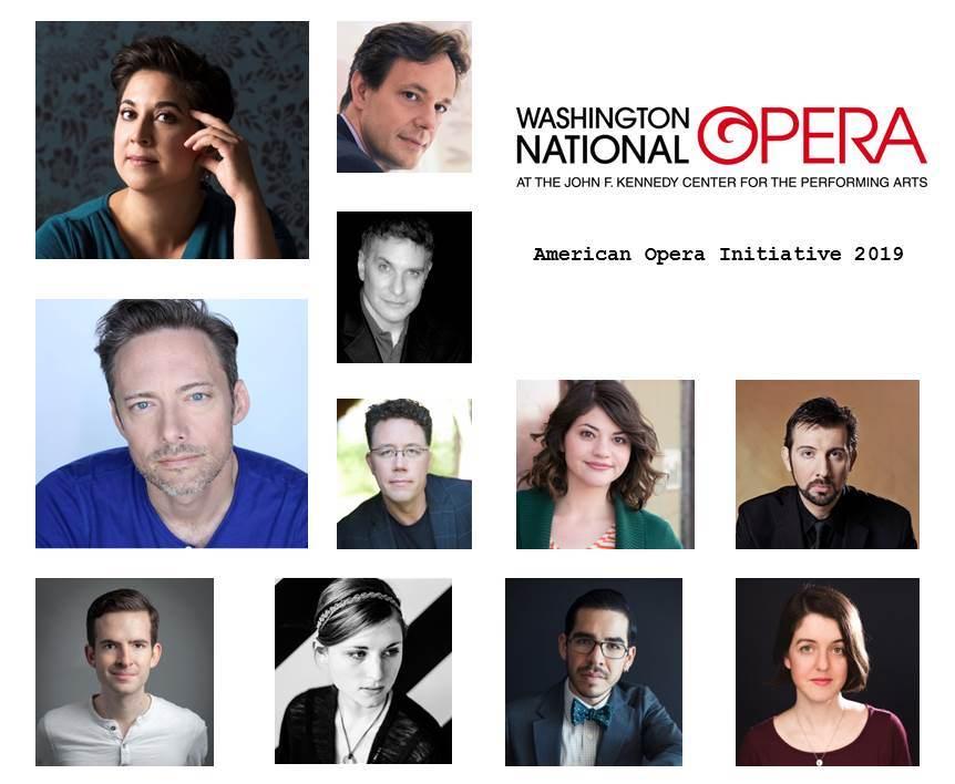 Collage of headshots with Washington National Opera logo and American Opera Initiative 2019