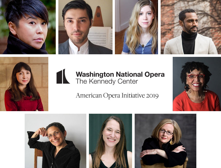 Collage of headshots with Washington National Opera logo and American Opera Initiative 2019